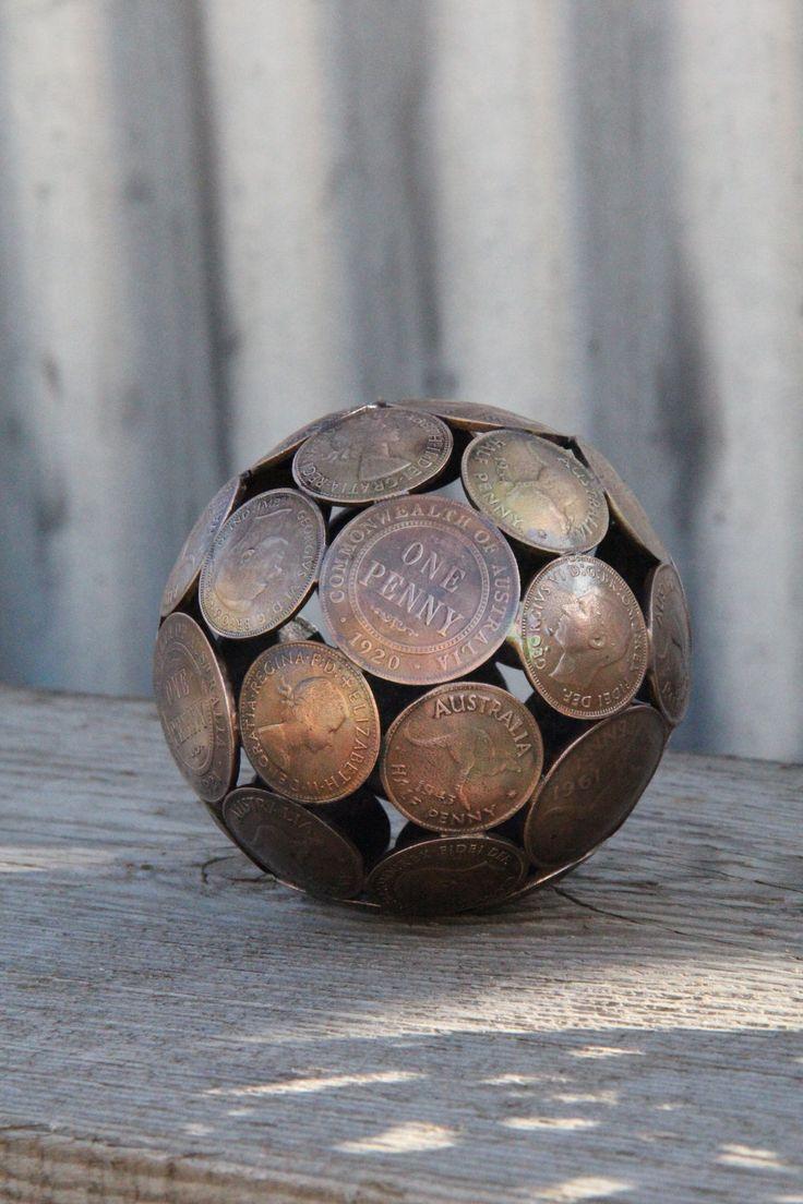 Mini mixed penny ball 2, Penny sphere, Metal sculpture ornament. $45.00, via Etsy.