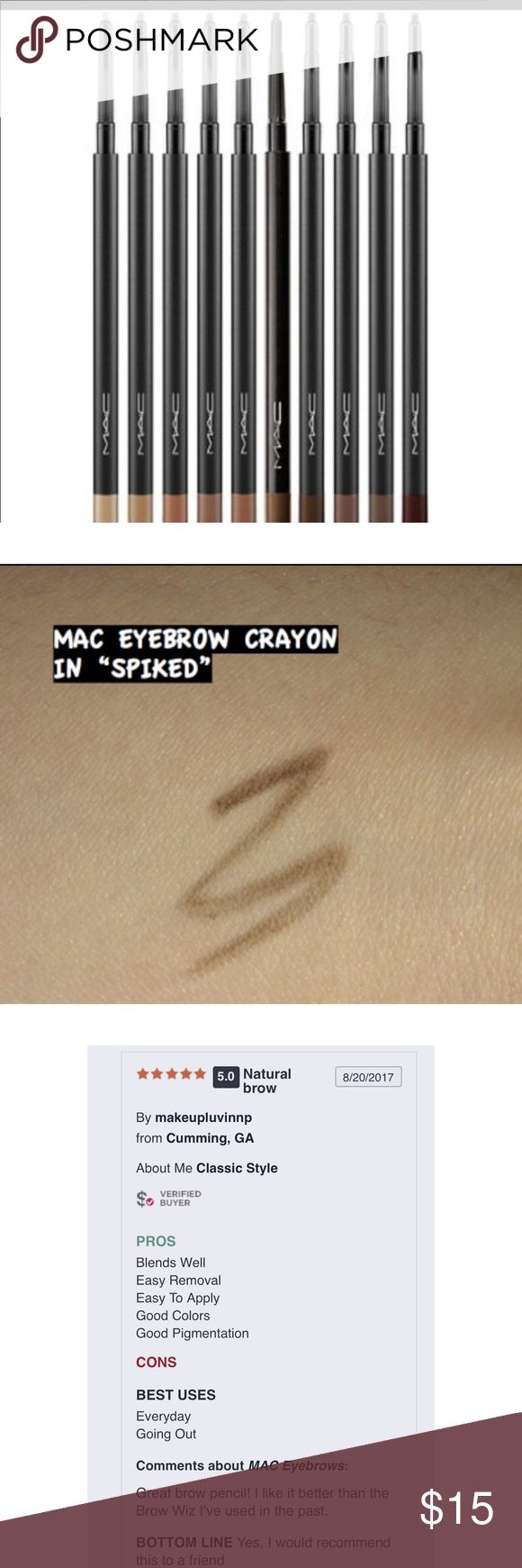 "Mac eyebrow pencil No sharpening, no tugging, glide-on formula makes brows perfectly finished in seconds! Even if you aren't a pro at brows, this gem will help you get there! I can do my brows in less than 2 minutes! VERY pigmented, so it lasts longer than my usual, (cough cough, Anastasia😂)! you just can't go wrong! Now you can have those Instagram brows you envy! Color is ""spiked"", med-med dark brown. NEW/UNUSED/FULL SIZE. price FIRM unless bundling. ❌trades/other sites. NO offers…"