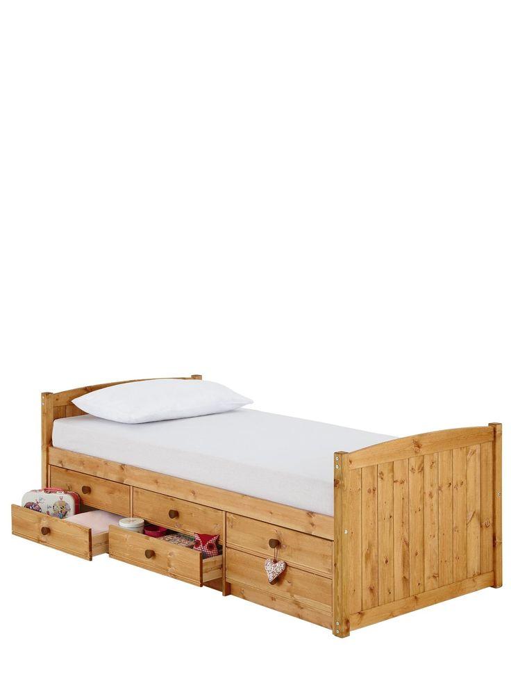 Kidspace Georgie Solid Pine Single Storage Bed Frame | very.co.uk
