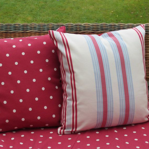 Two 16 inch Cushion Covers Red White Blue by AllTheTrimmingsUK