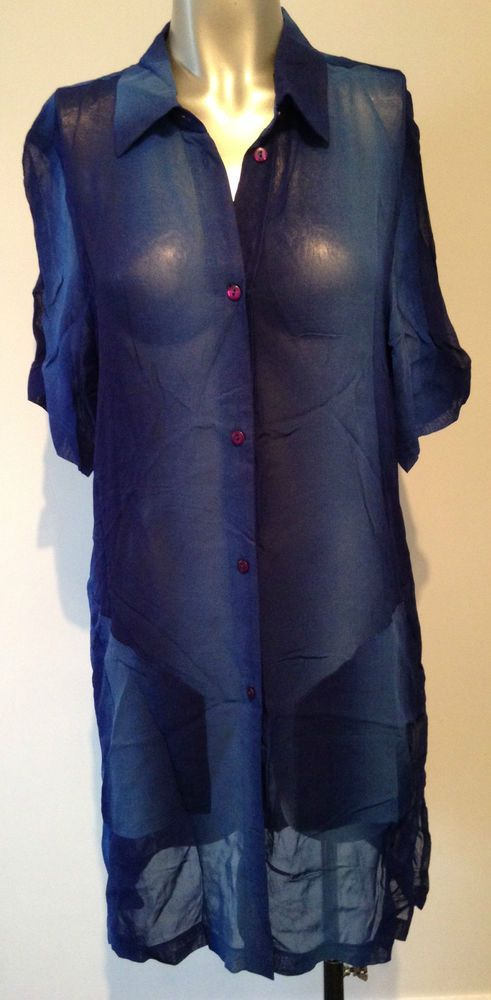 New Blue Beach Dress Extra Small XS Sheer Wrap Coverup Blouse Swimwear Sexy