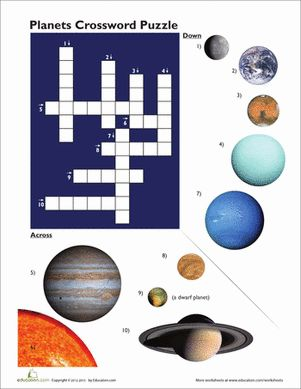 Third Grade Earth & Space Science Crossword Worksheets: Planet Pictures Crossword