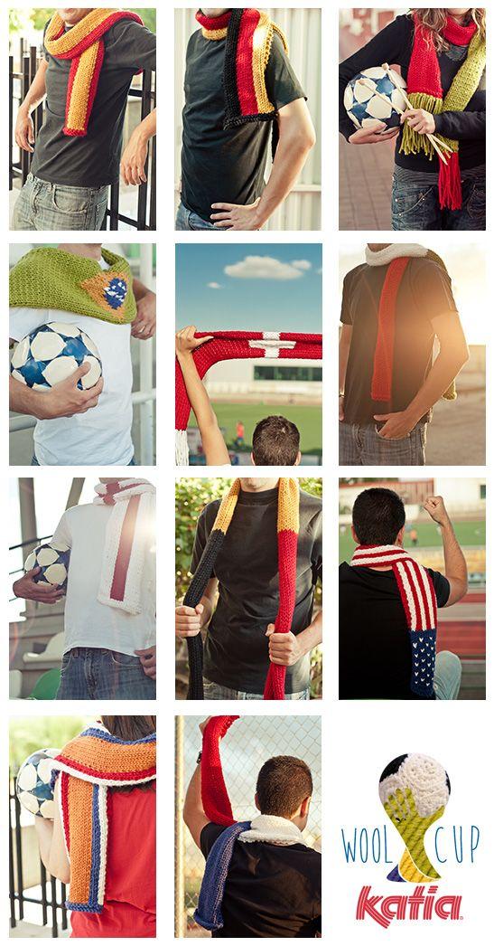Teje tu bufanda a ritmo de samba en The Katia Wool Cup | #worldcup #brasil2014 #soccer http://www.katia.com/blog/es/2014/06/10/patrones-bufandas-mundial-futbol-brasil-2014/