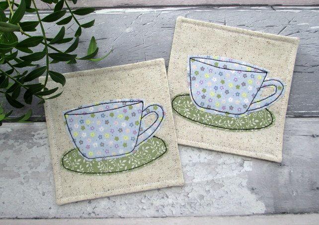 Cup Coasters, Fabric Coaster Set £10.00 #Folksy365