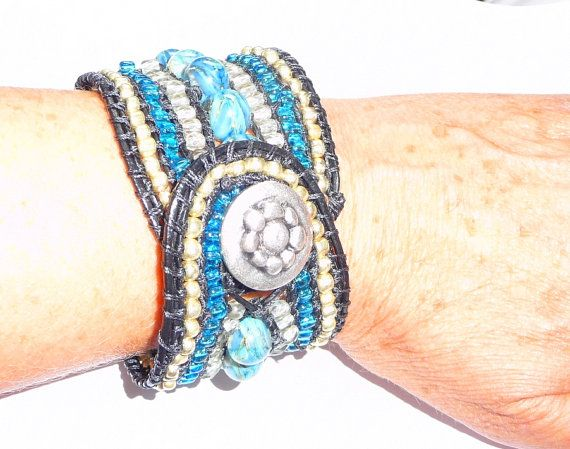 Casual / every day beaded cuff bracelet by Beadsagogo on Etsy, $70.00