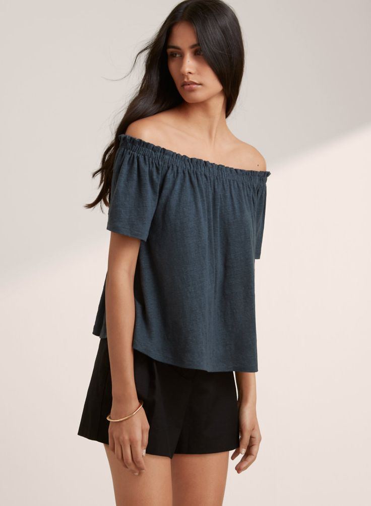 Show some skin in an off-the-shoulder linen top.