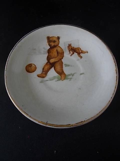 Vtg 1920s Pottery Saucer TEDDY BEARs play FOOTBALL Childrens Nursery Ware Teaset