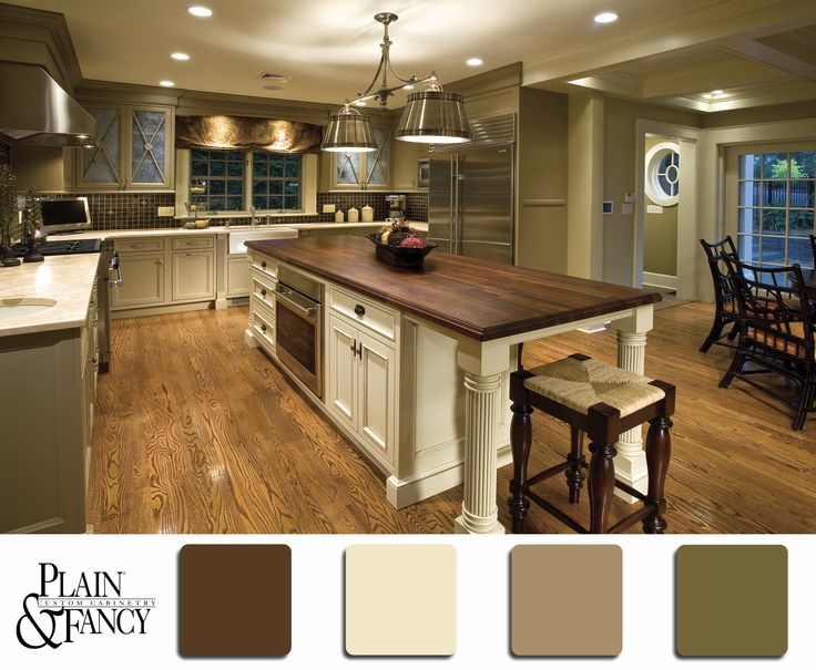 Natural, earthy tones like whites, taupes and browns, with some green hues as well.  #earth #color #whites #greens #browns #design #kitchen #cabinets #palettes