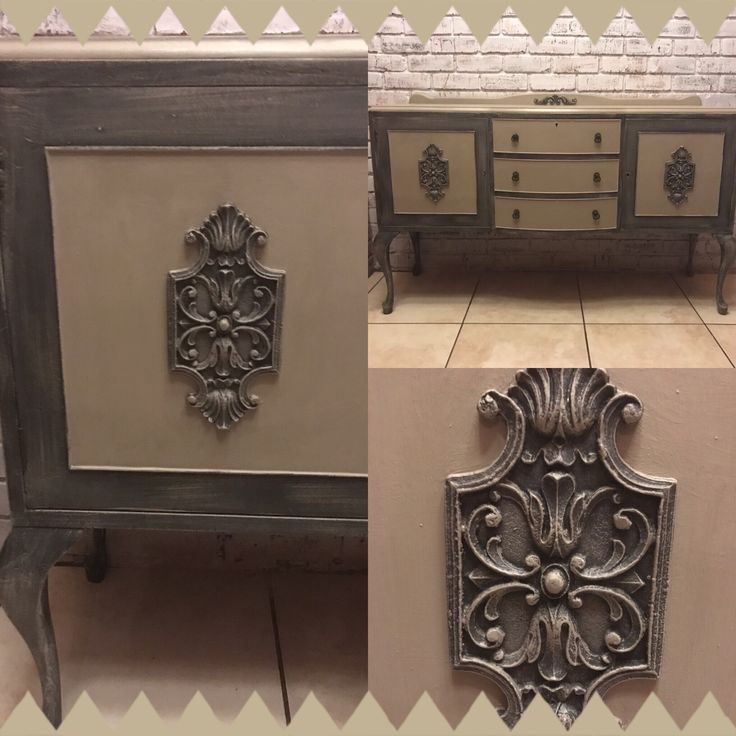 Sideboard painted with Annie Sloan Graphite and French Linen