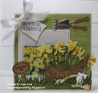 Handmade card by DT member Anja with Creatables Tiny's Narcissus (LR0399), Tiny's Basket (LR0404), Craftables Grass (CR1335), Labels (CR1352) and Collectables Garden Set (COL1346) from Marianne Design