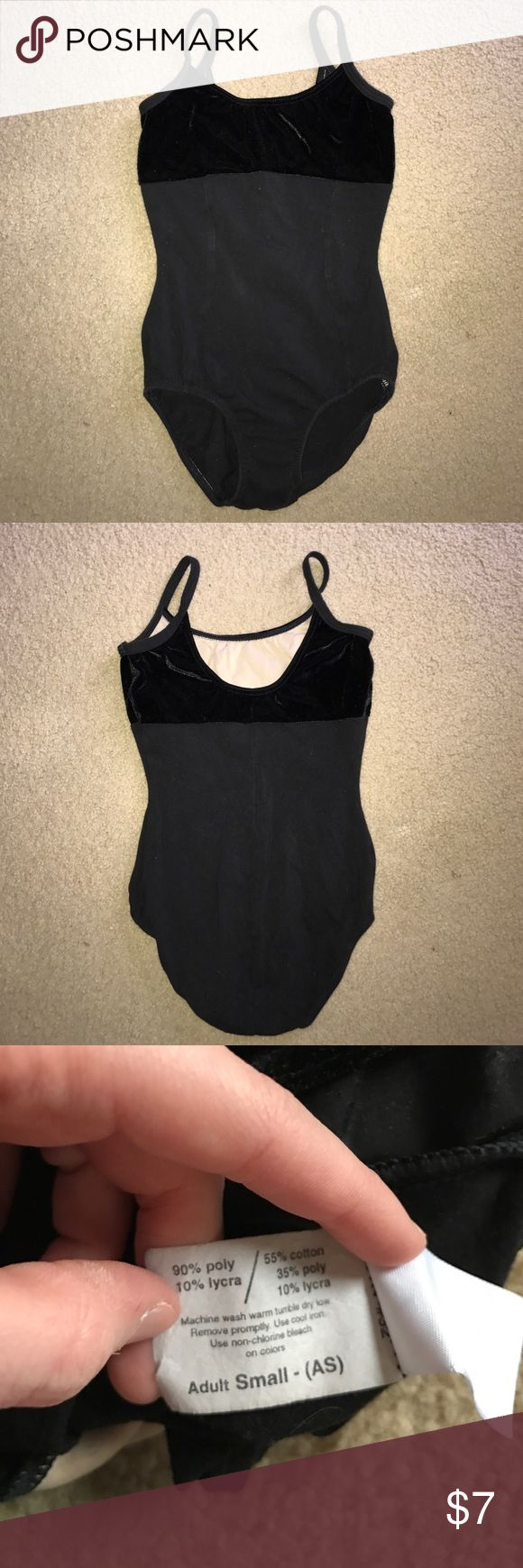 "Black Dance Leotard with Velvet Upper This is an adult small, black dance leotard with velvet upper. It says adult small but it is extremely small. The length is 17"", the waist width is 10"", the bust width is 12.5"", and hip width is 12"". This will also fit a girl. Costumes Dance"