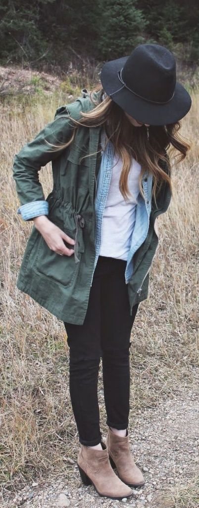 #street #style fall / green jacket + denim