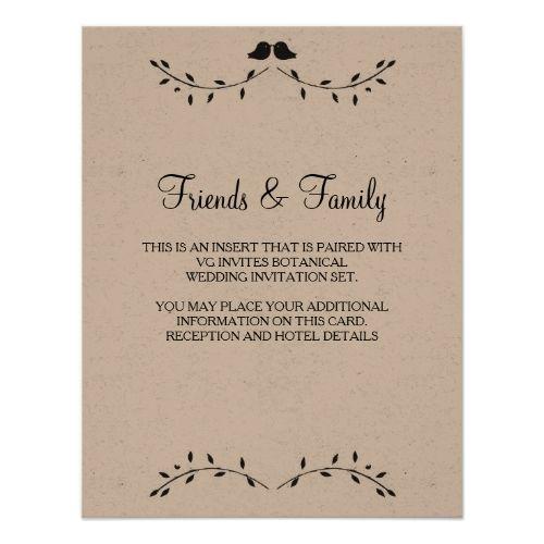 Love Bird Wedding Reception Love Birds Reception Details Card   Botanical