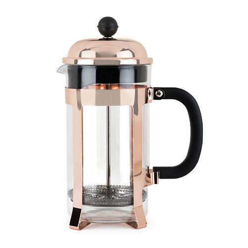Item # 5189Tea served out of a Rose Gold french press just tastes better. With it's 34 oz capacity, Stainless steel filter and press, and on trend copper-plated stainless steel frame you'll be serving up the hottest cups of tea on the block!34 oz capacity