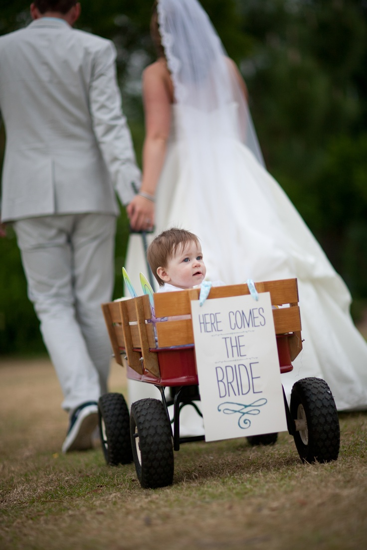Adorable wedding sign for baby flower girl in the wagon- Rosie Beans Designs