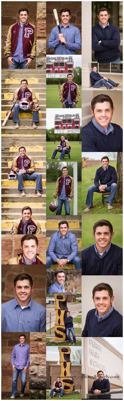Senior boy portraits - Football Baseball Athletic senior pictures - Classic senior portrait poses - Perry Oklahoma Senior Photographer - Captured By Karly