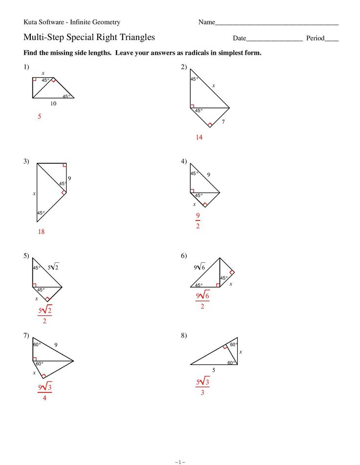 Find The Missing Side Lengths Leave Your Answers As Radicals In