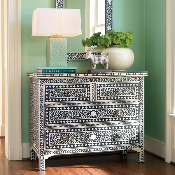 Love the paint on this chest.  go to site to see more painted furniture and accessories