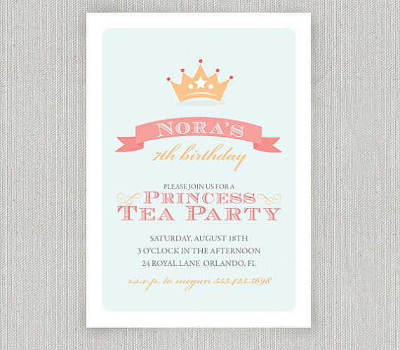 Princess Tea Party Invitations by twopoochpaperie on Etsy, $18.00