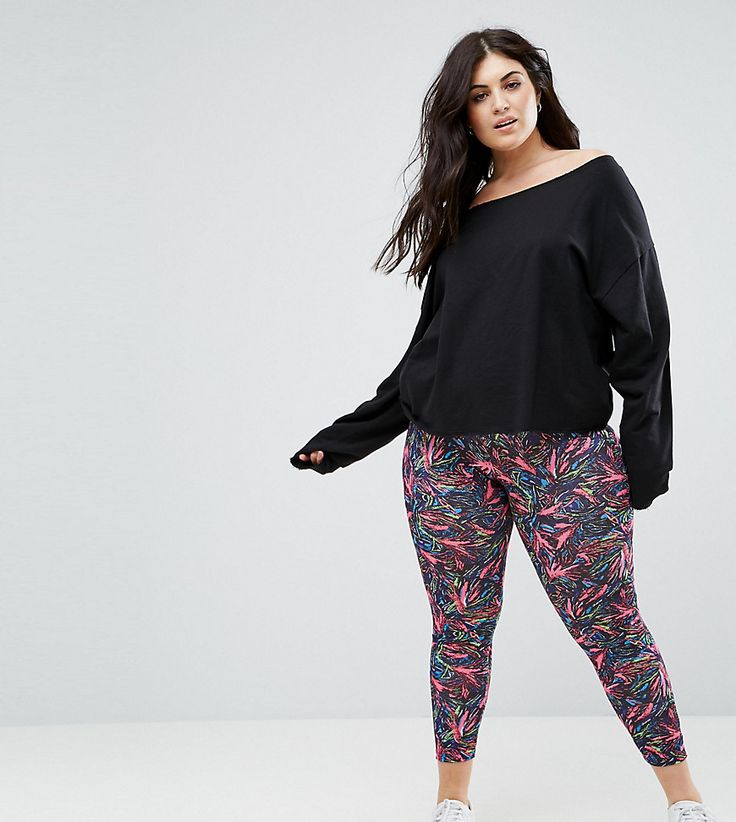 ASOS CURVE Legging with Deep Waistband in Graphic Print - Multi