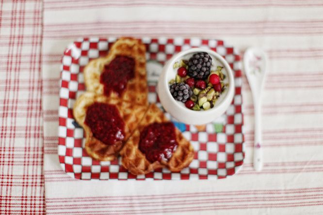 ghurt+blackberries+lingonberries+pistachios, waffle slices with homemade raspberry jam.