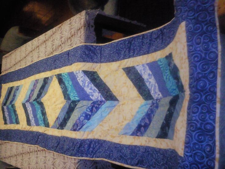 Bed runner for cousin Joan she wanted west coast football colours hope she liked the result