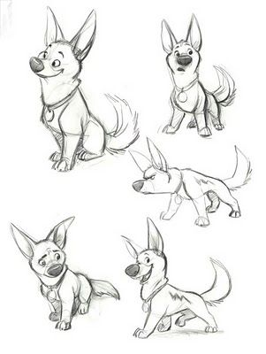Character Design - Sketches of characters showing poses & posture - Bolt