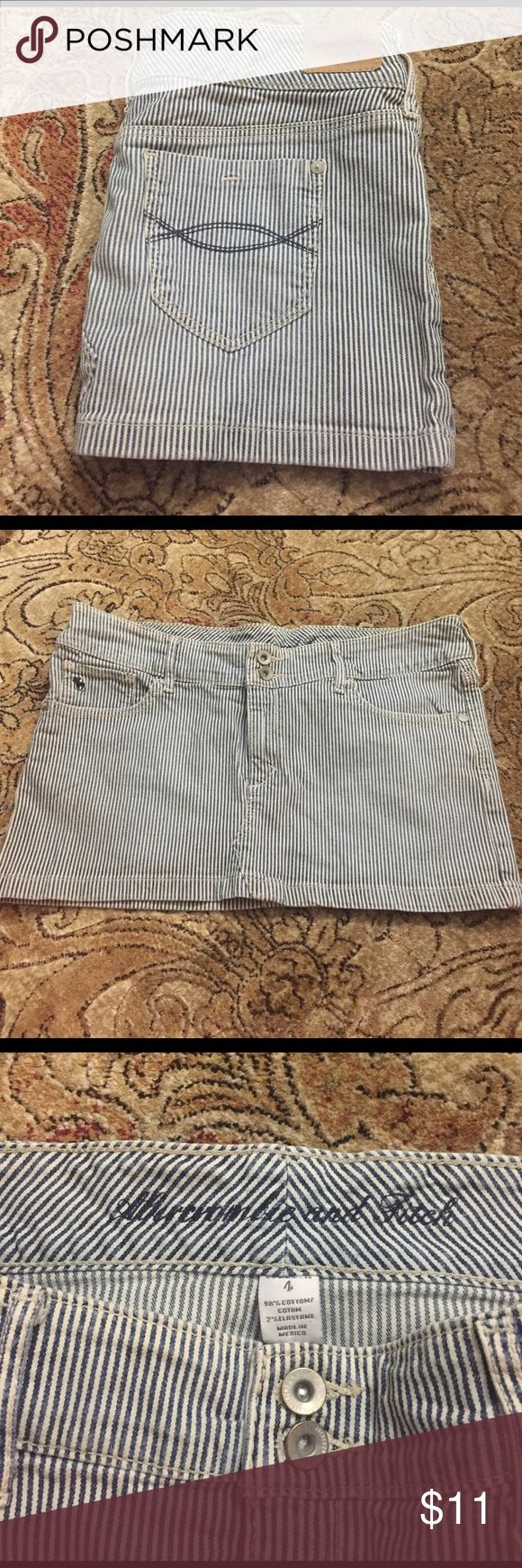 Abercrombie and fitch blue & white striped skirt Abercrombie and Fitch Blue and white pinstriped miniskirt. Worn once, in great condition. Abercrombie & Fitch Skirts Mini