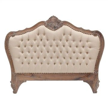 Challuy Hand Crafted Mahogany Upholstered King Size Bedhead - Weathered Oak Finish