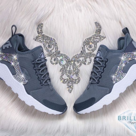 Swarovski Nike Huarache Ultra Shoes - Stealth Grey Authentic Women's Nike Air Huarache Ultra Shoes in Grey. Style#: 819151-003.  Outer sides are encrusted with hundreds of real Swarovski® crystals in all different sizes to ensure maximum brilliance and shine.  Brand new in original box, purchased directly from an authorized Nike retailer.  Crystals have been applied with industrial strength glue. Will never come off.  Please allow up to 2 weeks to receive your order.  For better pricing and…