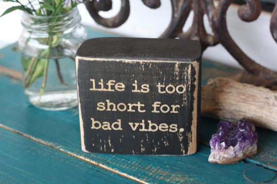 hippie decor, bad vibes, good vibes, boho decor, bohemian, wooden decor block, rustic, distressed, customize, black decor