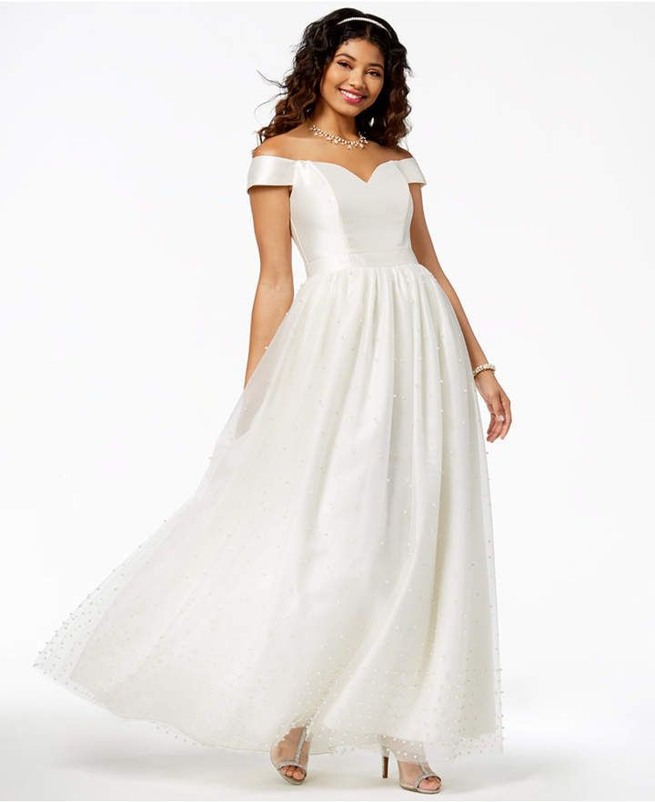 Say Yes to the Prom Juniors  Imitation-Pearl-Embellished Gown ... 01f103bafd72
