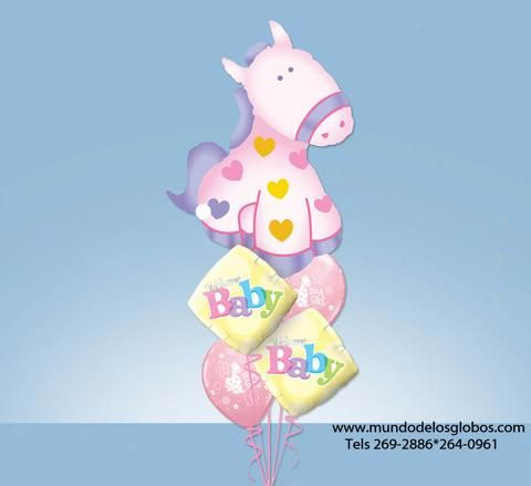 Bouquet de Caballito Gigante con Diamantes Welcome Baby y Globos de It's A Girl Rosados