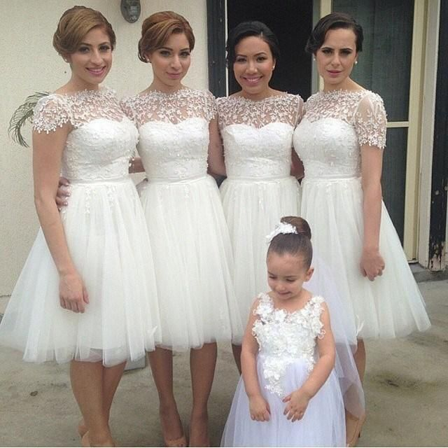 2014 Cheap Hot Short Sleeve Wedding Party Dresses Charming White Lace Appliques Organza Bridesmaid Prom