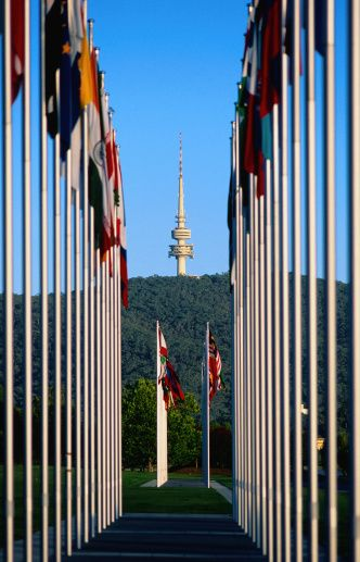 Telstra Tower and various national flags - Canberra - Australia