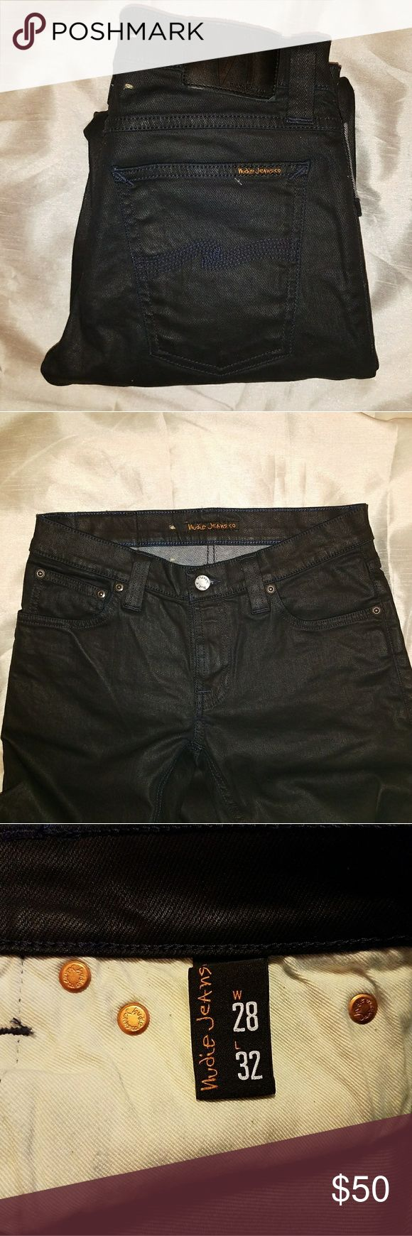NWOT Dark Denim Nudie Jeans New without tags: Tight Long John Dark Navy Denim Jeans High Waist Jeans NEVER WORN Wax Coated Dark Navy sticthing/trim throughout Nudie Jeans Jeans Skinny
