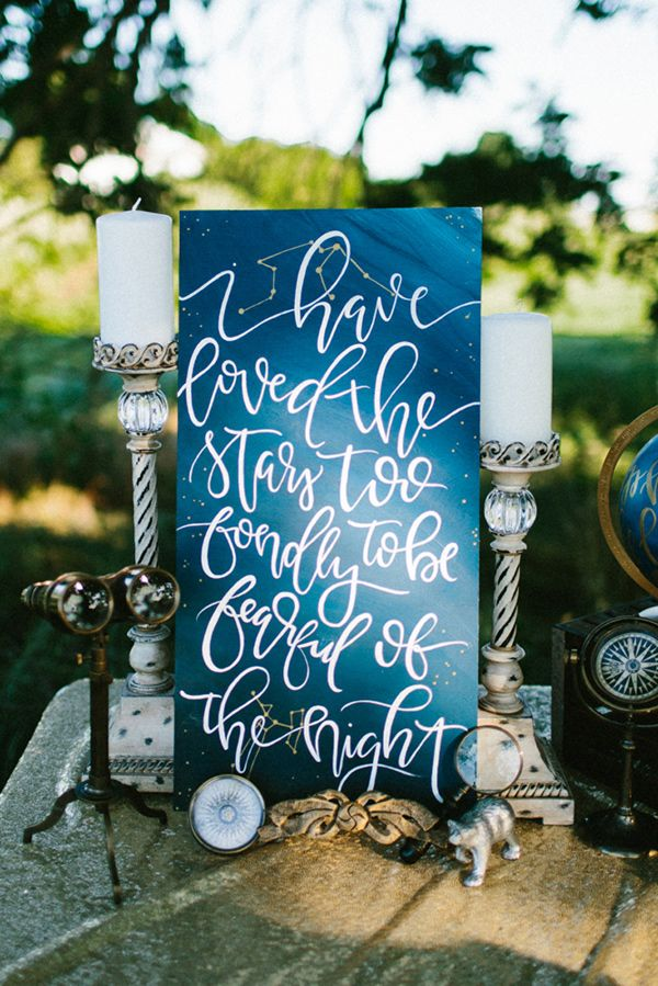 wedding signs - photo by Dawn Photography http://ruffledblog.com/galileo-inspired-wedding-ideas