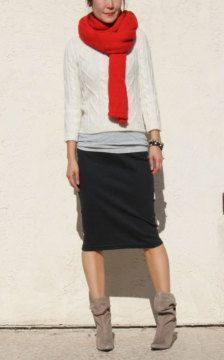 casual pencil skirt- really like this idea! Could do this outfit with a casual slight a-line skirt, too.