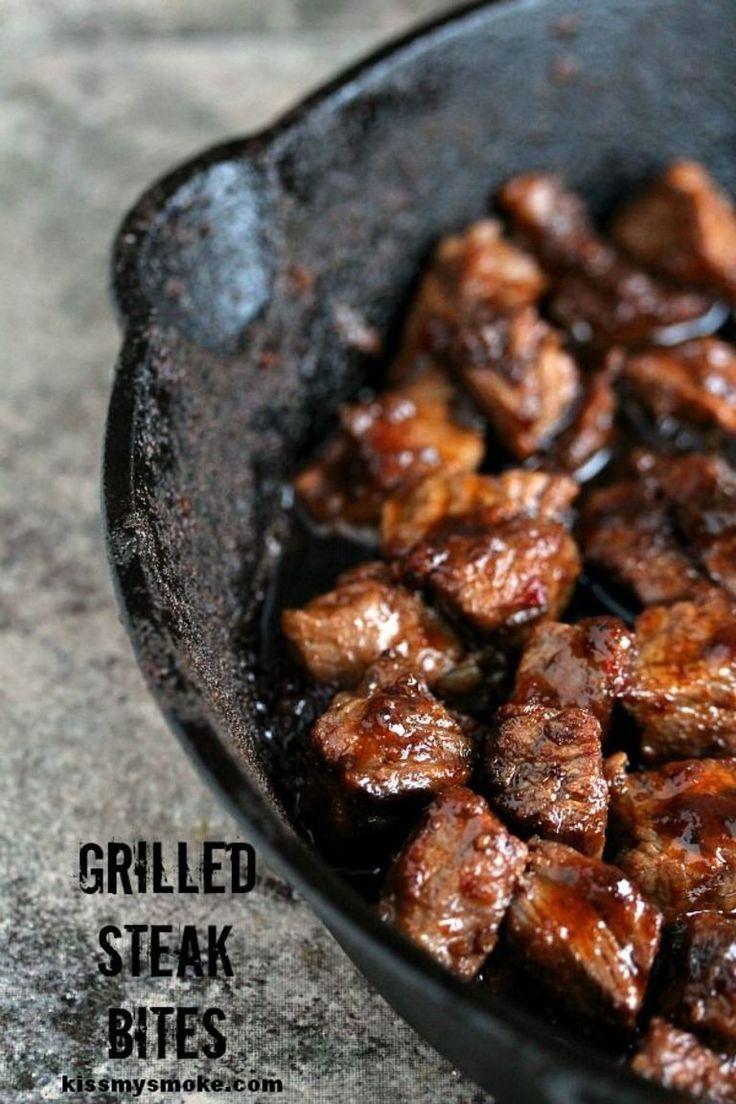 Steak Bites | Kiss My Smoke | Perfectly easy to make grilled steak bites. Seriously scrumptious!