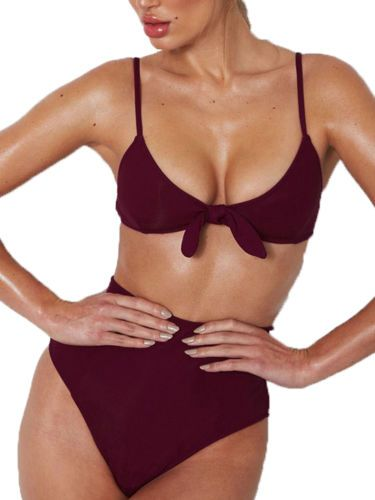 05d4dee4b9 Womens High Waist Bikini Set Swimwear Bowknot Bra Swimsuit Beach Bathing  Suit#Bikini, #