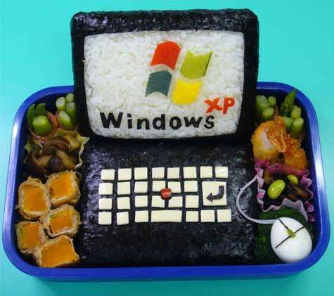 Clever Sushi Art to Make Snacktime Fun #homedecor trendhunter.com (Windows XP laptop and mouse onigiri)