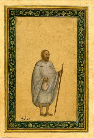 Painting. Portrait. Miyán Sárí, a religious devotee and inscription. On paper. According to reg' Indian drawing.