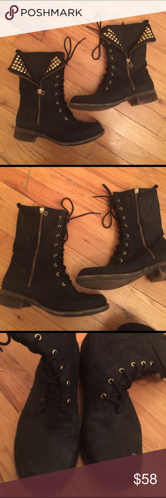 Steve Madden Studded Combat Boots Cute studded combats could be zippered if you don't want the studs for a day. Leather Steve Madden Shoes Combat & Moto Boots