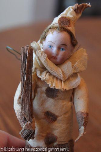 Antique Christmas Ornament Spun Cotton Clown Boy Bisque Head Crepe Paper c.1900