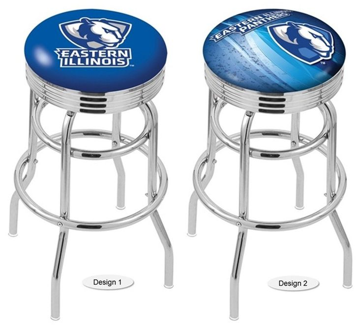 """The Retro Chrome Eastern Illinois Panthers Bar Stool has a 2-1/2"""" cushion, a double-ring base, a chrome finish. Choice of 2 seat heights, and 2 design styles. Excellent quality. Free Shipping. Visit sportsfansplus.com for details."""