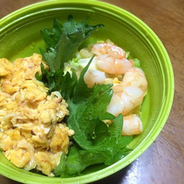 昨日3時に寝たのに6時起きで作った(。-_-。) 炒り卵はTwitterのシェフの簡単レシピの卵丼が参考です(^-^)/ - 70件のもぐもぐ - 白菜と海老の中華炒め丼 炒り卵乗せ by もっつぁ