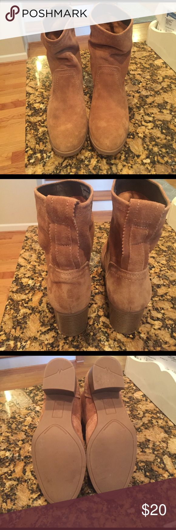 Stone Mountain Suede Boots This is a dark tan suede pair of boots. They are new without a box. So cute with skinny jeans or leggings! stone mountain Shoes Ankle Boots & Booties
