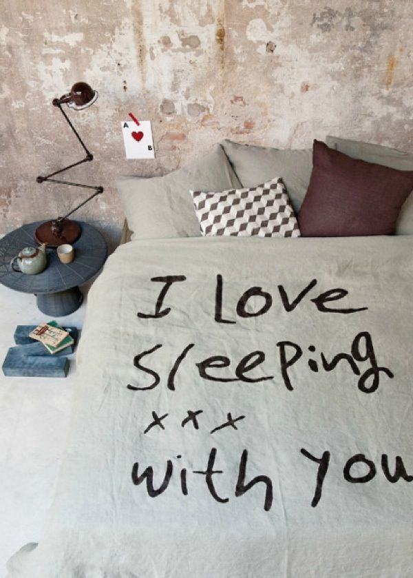 """Fun pillow idea """"I love sleeping..."""" On front; """"with you xoxo"""" on back"""