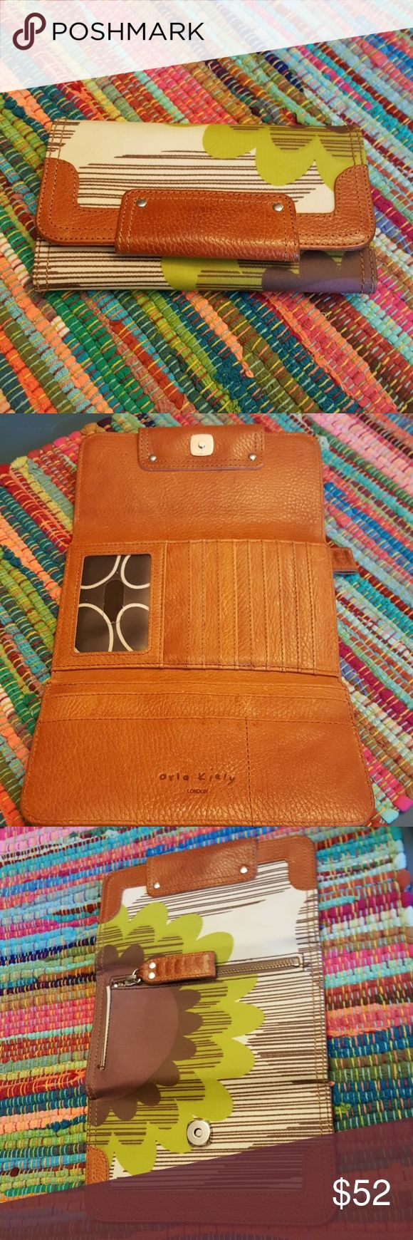 """RARE ORLA KIELY WALLET Leather brown purple green pattern.  Clutch listed separately in another listing of mine.  Small signs of use otherwise in great shape.8×4"""" Anthropologie Orla Kiely Bags Wallets"""