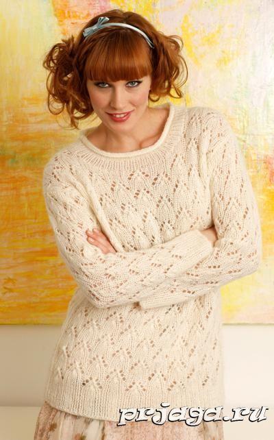 Кружевной свитер спицами